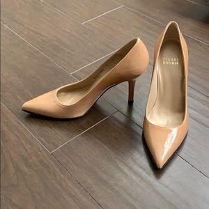 Stuart Weitzman Nude Patent Leather Pointed Heels